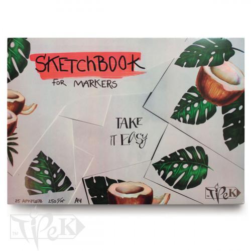 Скетчбук для маркерів (кокос) А4 (21х29,7 см) 250 г/м.кв. 25 аркушів «Трек»
