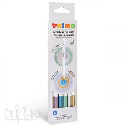 Набір металізованих кольорових олівців Minabella 6 кольорів в картонній коробці Primo Італія