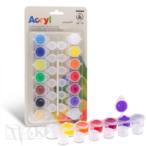 Набір акрилових фарб на завісі 14 кольорів по 4,5 мл Primo Італія