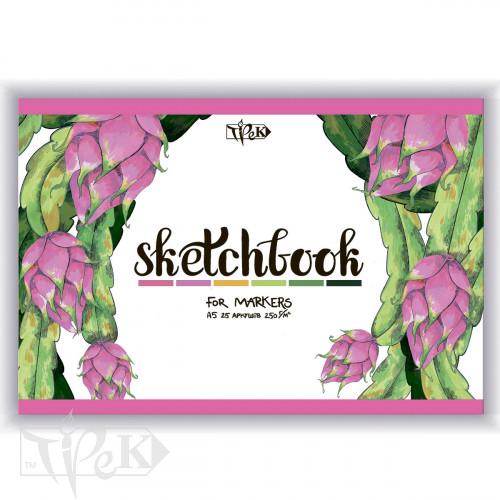 Скетчбук для маркерів (питайя) А5 (14,8х21 см) 250 г/м.кв. 25 аркушів «Трек»