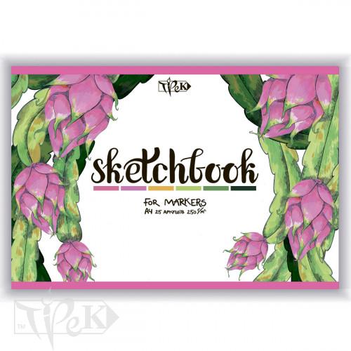 Скетчбук для маркерів (питайя) А4 (21х29,7 см) 250 г/м.кв. 25 аркушів «Трек»