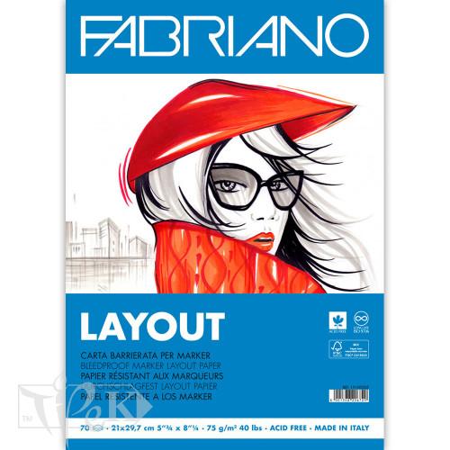 Альбом для маркерів Blocco Layot А4 (21х29,7 см) 75 г/м.кв. 70 аркушів склейка білий папір Fabriano Італія