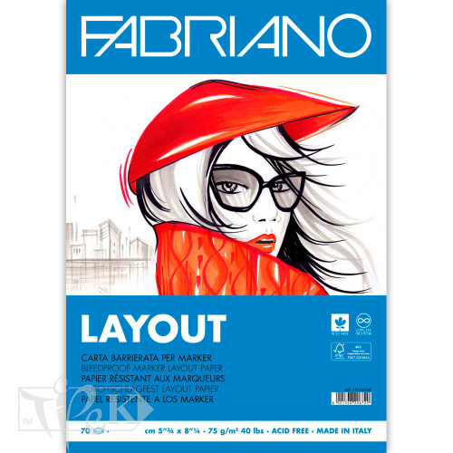 Альбом для маркерів Blocco Layot А3 (29,7х42 см) 75 г/м.кв. 70 аркушів склейка білий папір Fabriano Італія